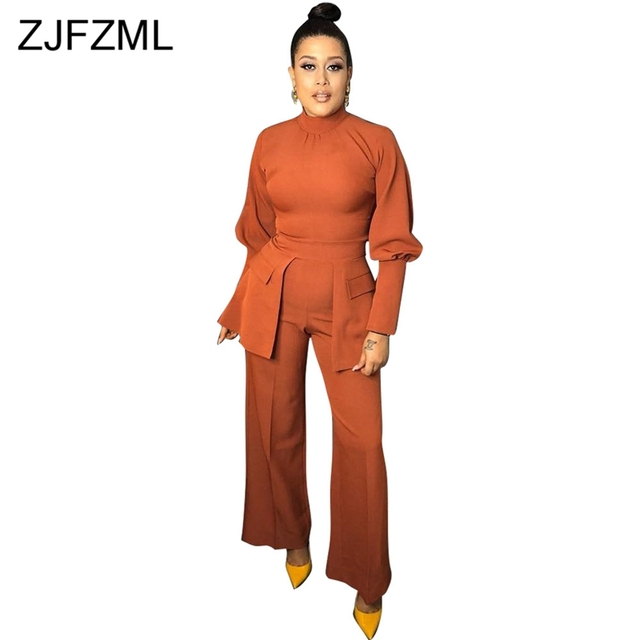 95b812811f Long Sleeve Sexy Rompers Womens Jumpsuit Vintage Lantern Sleeve Turtleneck Wide  Leg Bodysuit Casual Orange Pockets