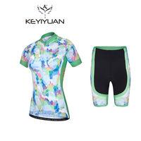 KEYIYUAN Cycling Jersey Ropa Ciclismo Bicycle Wear Clothing Sport Women's Bike Short Sleeves Shirt Padded Shorts Sets S 5XL