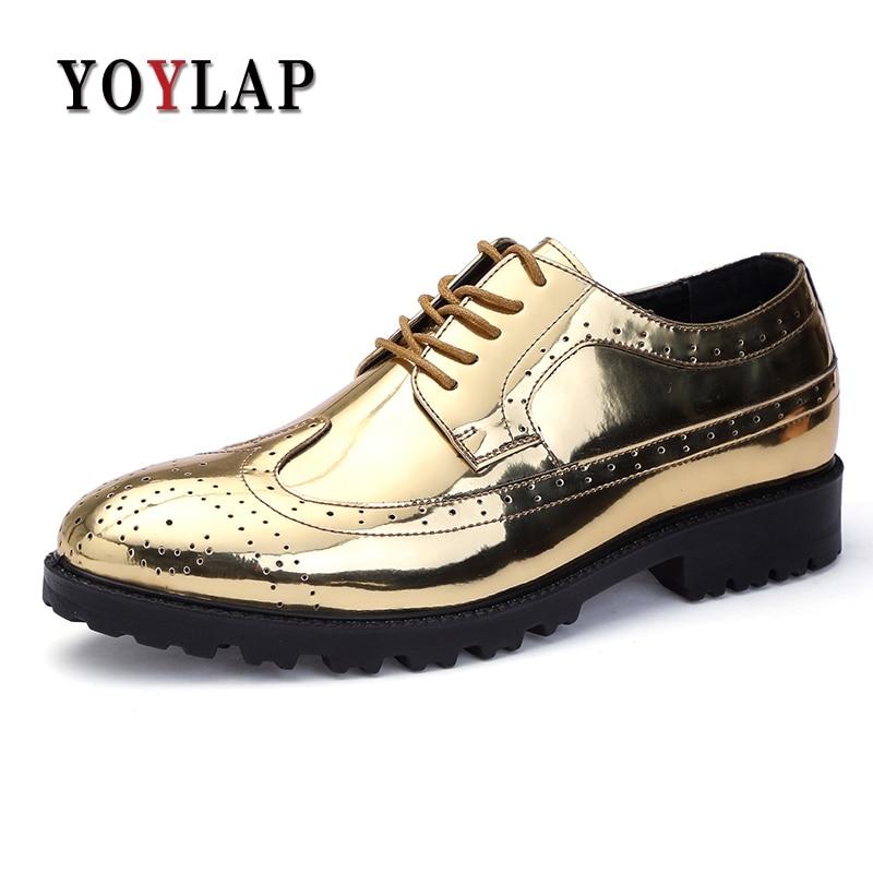 YOYLAP Golden Patent Full Brogue Shoes Men Dress Oxfords Shoes Carved PU Leather Shoes Lace Up Platform Bullock Business Men цена 2017