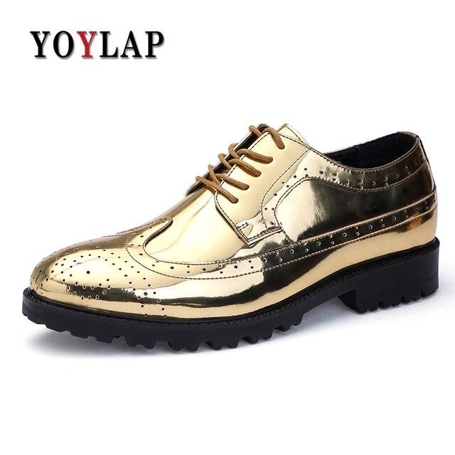 3e2ab65db5c9 YOYLAP Golden Patent Full Brogue Shoes Men Dress Oxfords Shoes Carved PU Leather  Shoes Lace Up Platform Bullock Business Men