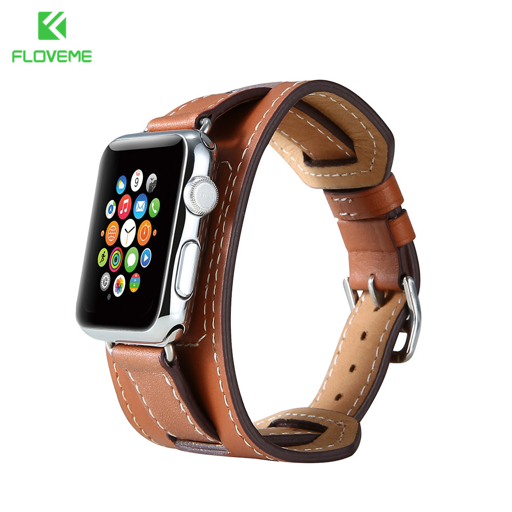 imágenes para FLOVEME Leather Wrist Band Para Apple iWatch 1 2 Series Cinturones de Hebilla de Correas De Reloj de Cuero de lujo Para iwatch Serie 42mm 38mm
