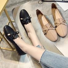 цены на Flat Single Shoes Women 2018 Spring Autumn Fashion Women's Shoes Single Shoes Bow Flat Shallow Mouth Casual Female Single Shoes  в интернет-магазинах