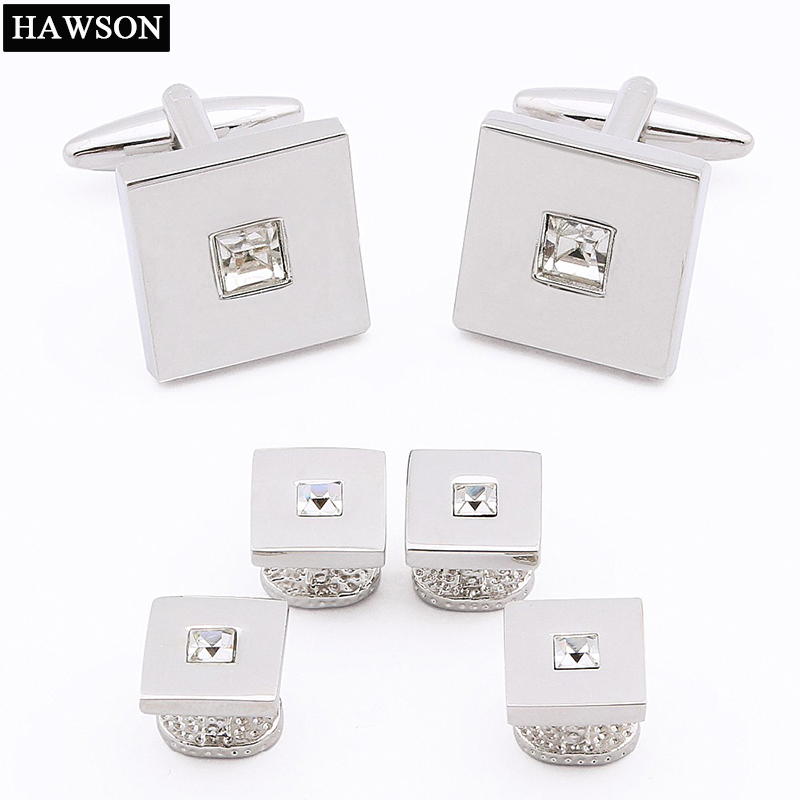 Fashion Crystal Cufflinks Tuxedo Shirt Studs Set for Business Man Cufflinks and Studs Set Free Gift Box High Quality free shipping high quality men s shirt cufflinks plane anchor bike car motorcycle transportation automobile cufflinks