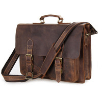 Nesitu Vintage Men Crazy Horse Leather Portfolio Male Briefcase Messenger Bags 14 Laptop Shoulder Bag Mens