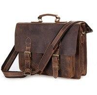 Nesitu Vintage Men Crazy Horse Leather Portfolio Male Briefcase Messenger Bags 14 Laptop Shoulder Bag Mens