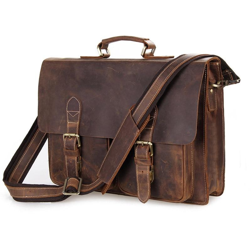 Nesitu Vintage Men Crazy Horse Leather Portfolio Male Briefcase Messenger Bags 14'' Laptop Shoulder Bag Mens Office Bags#M7105