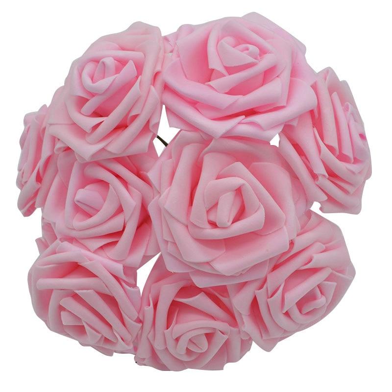 10 шт. 8 см большие ПЭ пенные цветы искусственные розы цветы Свадебные букеты Свадебные украшения для вечеринки DIY Скрапбукинг Ремесло поддельные цветы - Цвет: light pink  no leaf