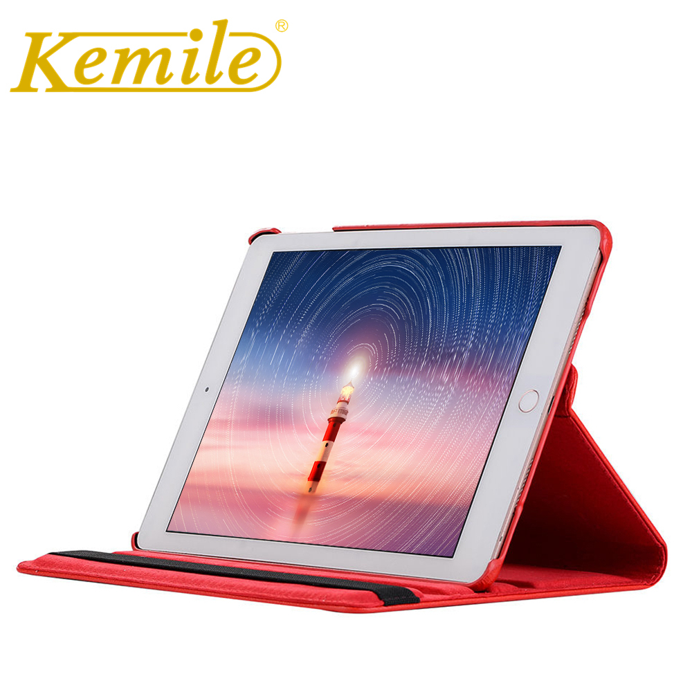 Kemile 360 Degree Rotating Portable Stylish PU Leather Smart Wake Up Stand Cover For Apple iPad pro 12.9 A584 A1652 Case