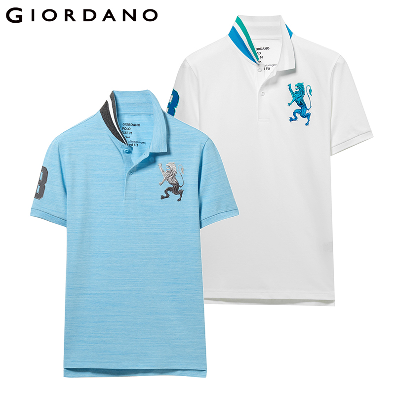 Giordano Men   Polo   Shirt 2-Pack Embroidery Mens   Polos   Stretchy Short Sleeve   Polo   Shirt Homme De Marque Embroidered Summer