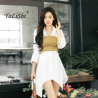 Autumn Women Dress Yellow Sashes Mini Asymmetrical White Shirts Dress Sexy Slim Party Vintage Bandage Dresses