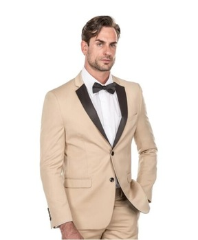 High Quality Two Buttons Beige Groom Tuxedos Notch Lapel Groomsmen Men Blazers Suits (Jacket+Pants+Tie) NO:471