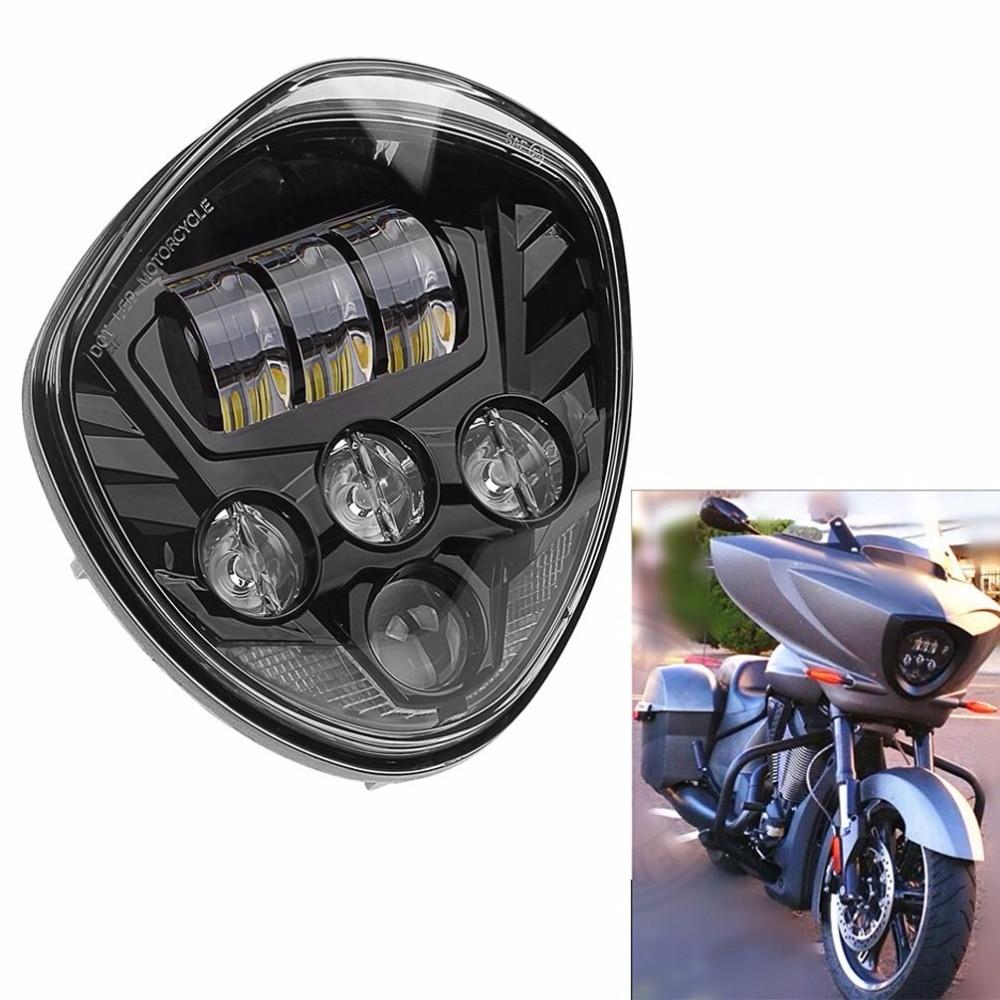 На продажу ! 1 шт. Мото аксессуаров мотоцикл Светодиодные лампы фар мотоцикла светодиодные фары черный хром для победы