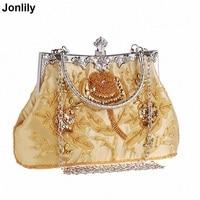 2018 New Fashion Satin Crystal Clutch Evening Bags Women Charm Handbag Embroidery Party Dress Accessories Wedding Bag LI 1527