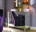 MR-401032 modern beveled mirrored 3 drawers side table
