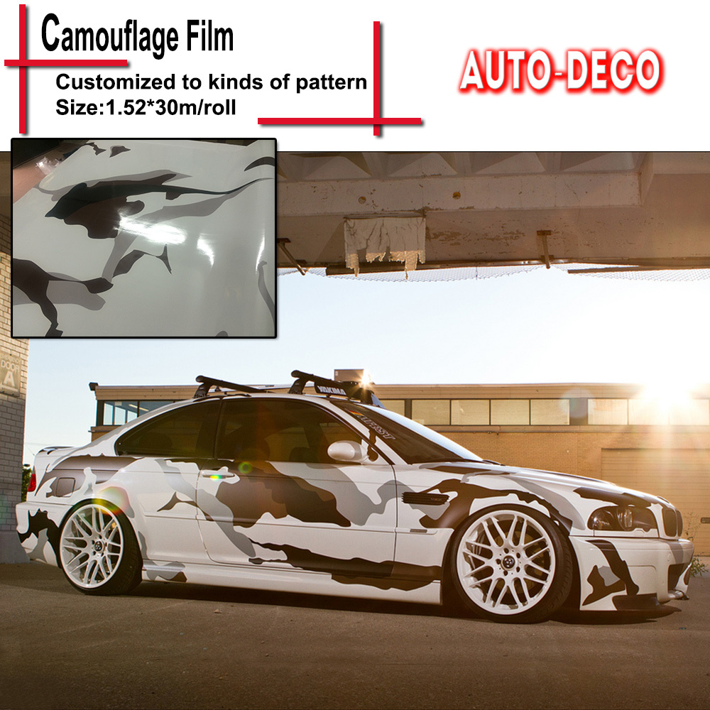 Black white snow camo vinyl wrap full body car sticker arctic camo vinyl car wrapping camouflage film 1 5230m roll in car stickers from automobiles