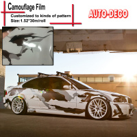 Black White Snow Camo Vinyl Wrap Full Body Car Sticker Arctic Camo Vinyl Car Wrapping Camouflage Film 1.52*30m/roll