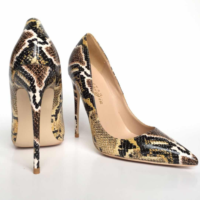 2018 Spring and Autumn New Mixed colors Serpentine PU leather ladies high heels pumps pointed toe
