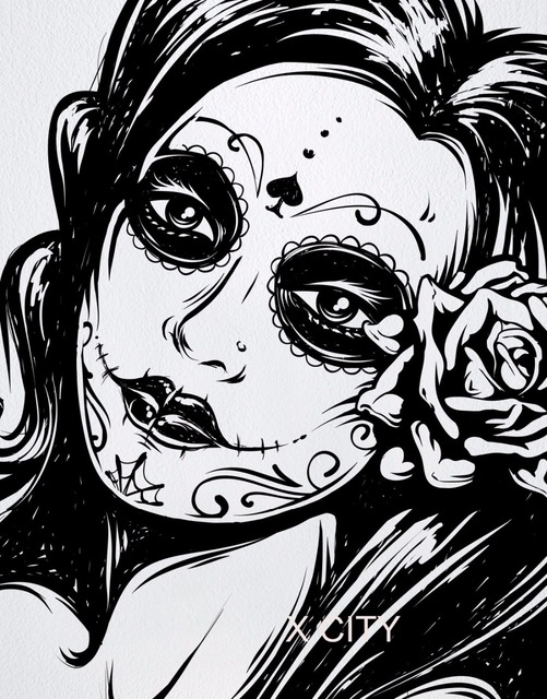 Mexican day of the dead sexy girl black vinyl wall decal sticker art home decor room