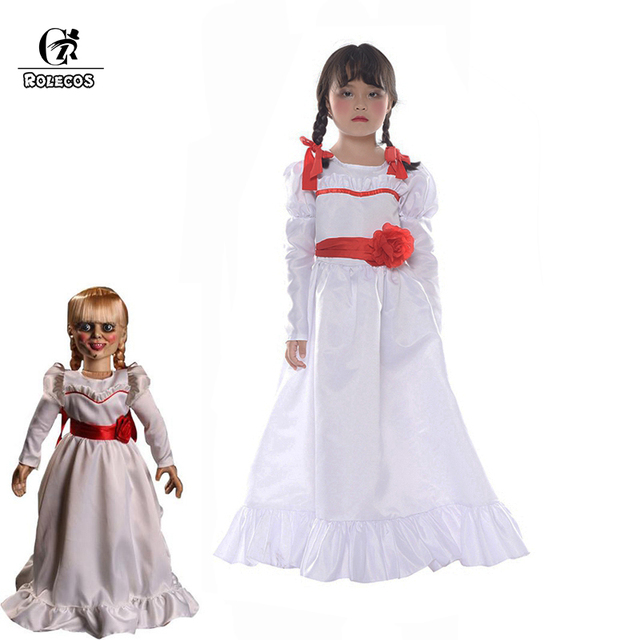 rolecos halloween girl halloween dress doll annabelle cosplay costume for women kids adult halloween costume horror