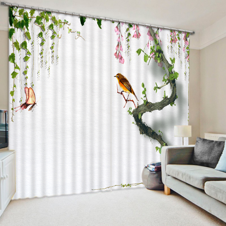 Chinese Brief Window Curtains For Living Room Tree 3D Printing Blackout Curtains Thick Polyester Shade Drapes Cortinas