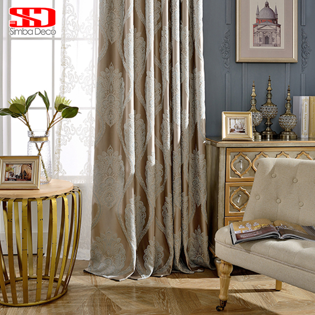 European Luxury Blackout Curtains For Living Room Bedroom Blinds Jacquard Embroidered Drapes Fabric Window Shade Ready
