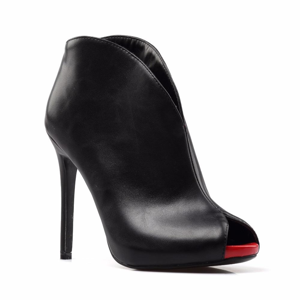 Ladies Boots 2017 Autumn Sexy Peep Toe Slip On Stiletto Heel Ankle Boots For Women Evening Dress Shoes Custom Plus Size EU 34-46