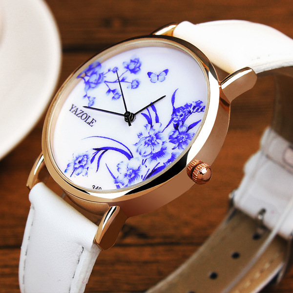 Yazole Vintage Chinese Style China Flowers Black White Red Leather Wristwatches Wrist Watch Gift for Women Ladies Female OP001 chinese style ethnic red blue flowers embroidery hat cap headgear women 2017 autumn winter vintage design skullies beanies