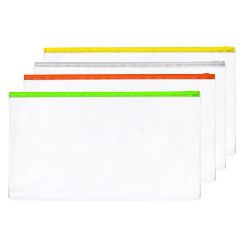 5PSC A4 A5 A6 Transparent Edge Banding File Document Stationery Package Bag