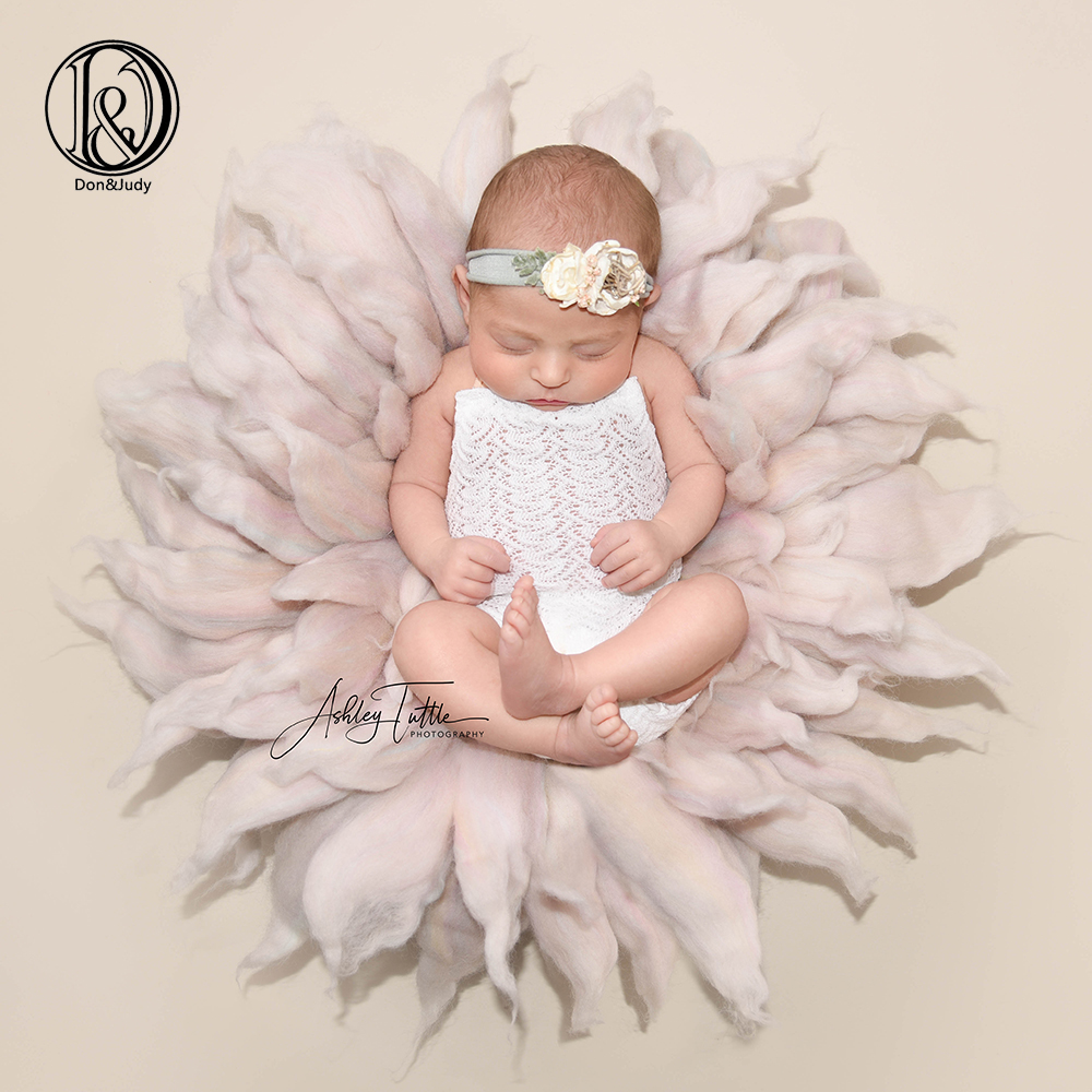Don&Judy Handmade 100% Wool Blanket Fluffy Felt Basket Filler Colorful Newborn Photo Prop Photography Background