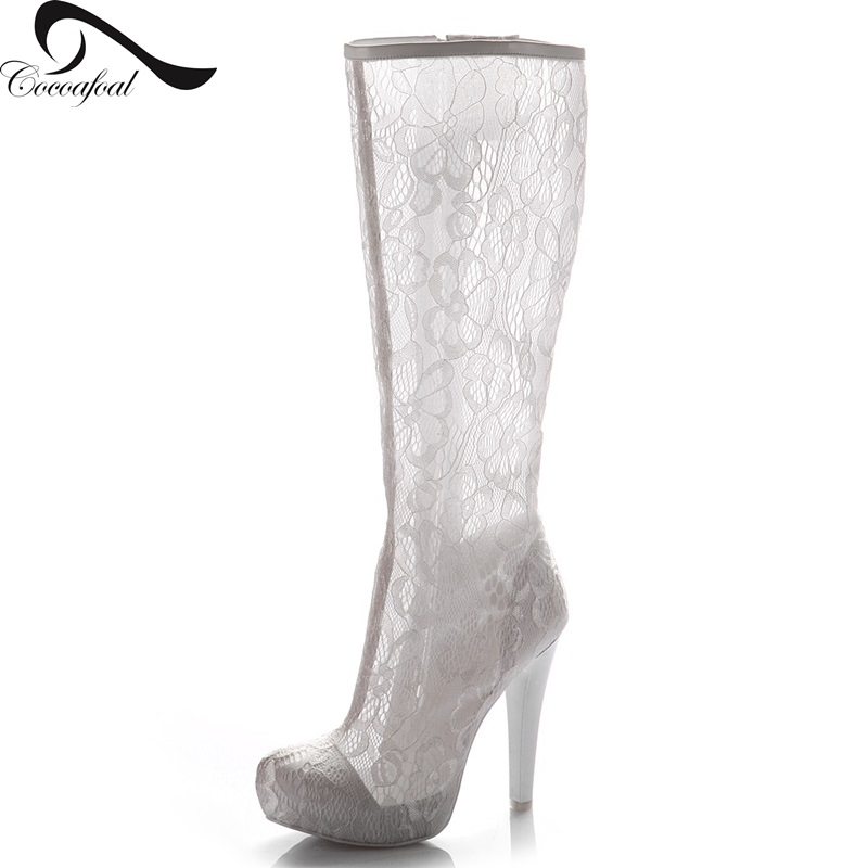 ФОТО Hollow Lace High heel Transparent female boots 2017 Sexy elegant latest high heels luxurious Nightclub Wild models new products
