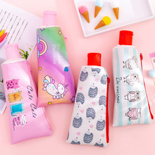 Toothpaste Pencil Case School Unicorn Cat PencilCases for Boy Girl Stationery Student Banana Zipper Pen Box Leather Pencil Bag