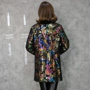 Image 4 - Ücretsiz kargo renkli çiçek baskı hakiki deri trençkot gerçek kuzu derisi deri palto moda uzun giyim artı boyutu