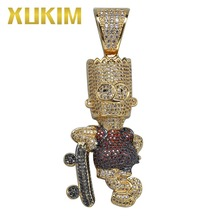 Xukim Jewelry Simpson with Skateboard Pendant Hip Hop Full Iced Out AAA Cubic Zirconia Cartoon Pendant Gold Color Jewelry Gifts цены