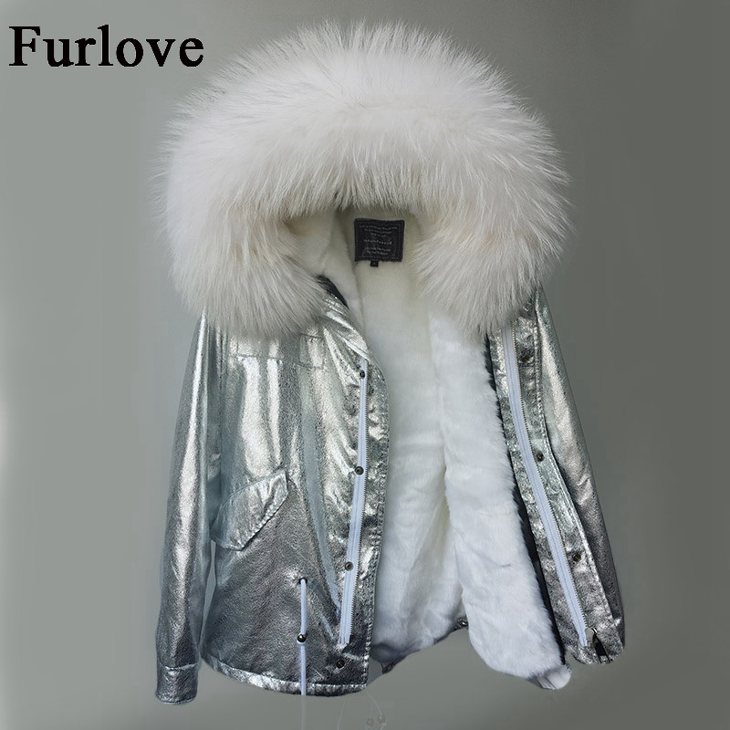 Detachable fur coat raccoon fur collar hooded winter jacket women parka thick parkas vintage silver casual coats warm jackets 2017 winter new clothes to overcome the coat of women in the long reed rabbit hair fur fur coat fox raccoon fur collar