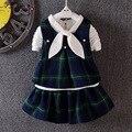 2017 Novos Meninas Vestidos xadrez colete + manga longa T-shirt + kilt 3 pcs vestido de algodão infantil do bebê vestidos Estilo Preppy roupa das crianças