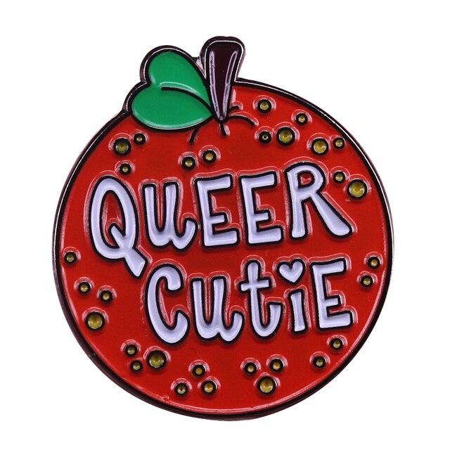 Aneh Manis Bros Orange Buah Enamel Pin Gay Pride LGBT Lencana
