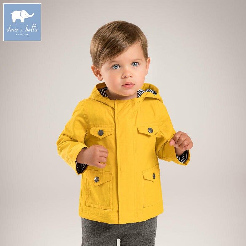 DB5410 Dave Bella осень для маленьких мальчиков модные пальто для детей ясельного возраста с капюшоном дети высокое качество одежды
