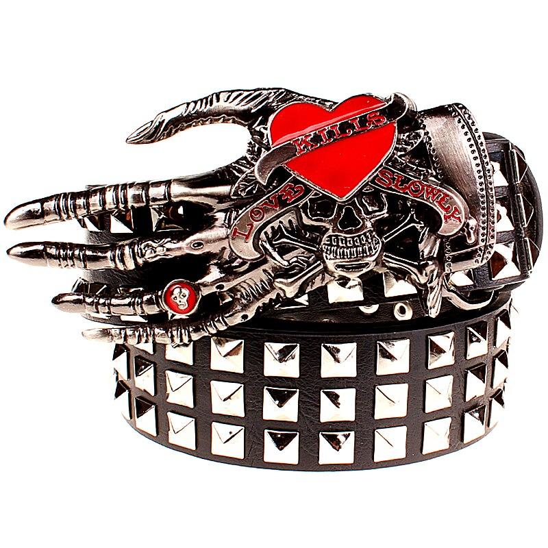 Full rivet belt men punk rivets belt skull love kills belt whole Spikes rivets skull hand hip hop show