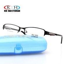7d3da6ac215 Black Eyeglasses Frame Mens Rectangle Design Half Rimless Eyewear Frames  TR90 Temple Spectacles Optical Prescription Glasses