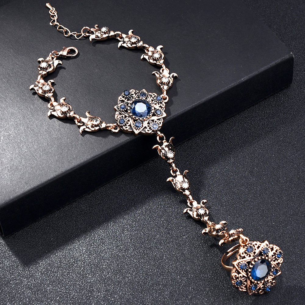 Turkish Jewelry Finger Bracelets for Women Red Blue Crystal Hand Chain Connected Slave Bracelet Antiaue Gold Flowers Braslet
