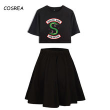 South Side Serpents Riverdale Printed Women Two Piece Skirts Sets Summer Harajuku Short Sleeve O-neck T-shirt Skirts Summer Sets(China)
