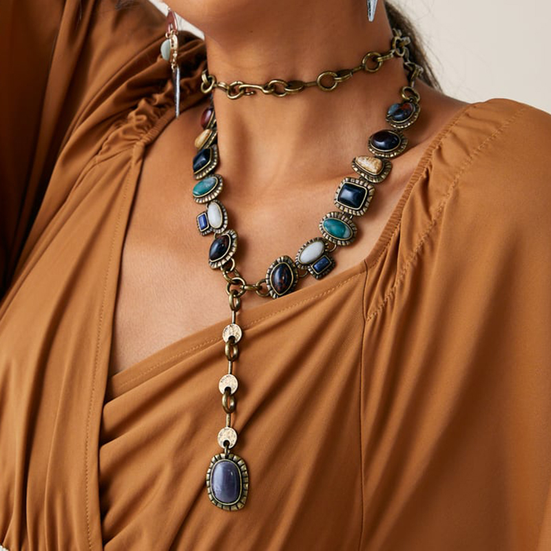 Long Za Geometric Maxi Necklace Colorful Design Boho Seashell Conch Pearl Vintage Ethnic Chain For Women Wedding Jewelry