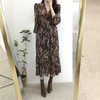 BGTEEVER Elegant V-neck Floral Printed Women Dress Flare Sleeve A-line Female Chiffon Dress 2019 Vintage Women Midi Vestidos 4