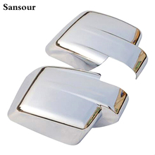 Sansour For Jeep Patriot Liberty 2011-2015 Chrome Door Side Wing Mirror Cover Trim Molding Cap Overlay