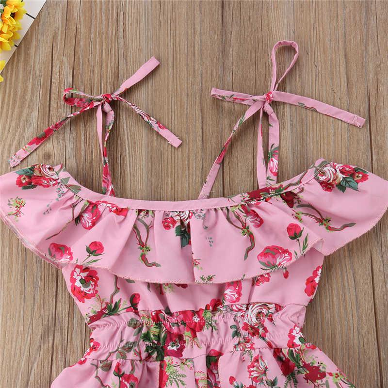 Floral Macacão Moda Estilo Criança Crianças Baby Girl Roupas Folha de Lótus Uma Peça Playsuit Romper Jumpsuit Crianças Outfits Vestido