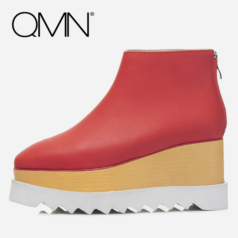 QMN women genuine leather ankle boots for Women Fashion Platform Boots Winter Shoes Woman Basic Wedges Boots Botas Mujer 34-42 free shipping women fashion winter shoes genuine leather ankle boots wedges female winter working boots plus size 34 41