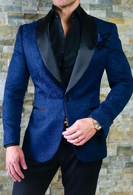 Latest Coat Pant Designs Blue Embossed Men Suit Floral ...
