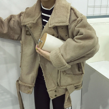[soonyour] 2016 Winter Fashion Trend Handsome Lapel Lamb Split Joint Suede Leather Loose Coat YD10804