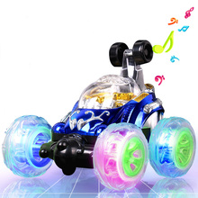 Stunt car roll music remote control car off-road remote control car racing movable mold charging children toy car