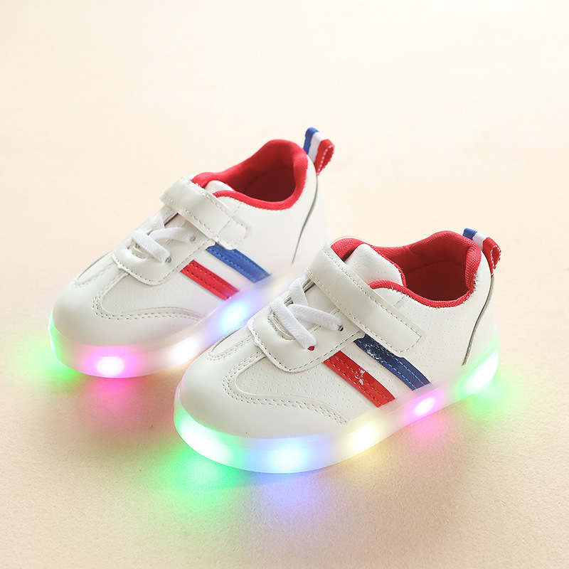 New 2018 Europea LED lighted Hook&Loop kids sneakers fashion cool baby girls boys shoes fashion cartoon tennis children toddlers